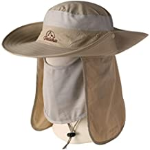 Wide Brim Fishing Sun Hat-360° UV Protection UPF 50+ Summer Outdoor Sun Protection Fishing Cap with Detachable Neck & Face Flap for Man, Women, Backpacking, Cycling, Hiking, Fishing, Garden, Hunting