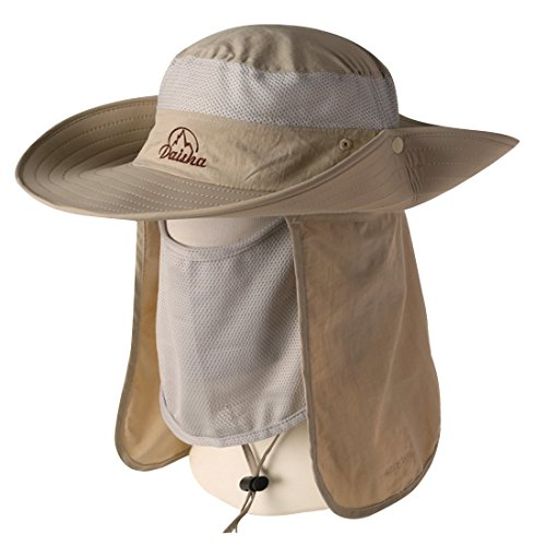 Sun Cowboy Protection (BELIESAFE Wide Brim Fishing Sun Hat Summer Outdoor UV Sun Protection Fishing Cap Neck Face Flap Hat for Man, Women, Backpacking, Garden, Hunting)