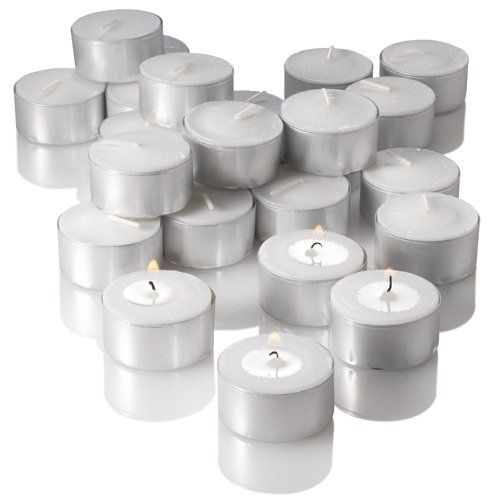 Set of 100 White Luminary Bags and 100 Extended Burn Richland Tealight Candles