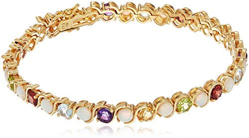 18k Yellow Gold Plated Sterling Silver Genuine Multi Gemstone and Opal S-Link Tennis Bracelet, 7.25