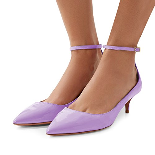 cheap sale get authentic sale best sale FSJ Women Versatile Pointed Toe Pumps Mid Kitten Heels Slim Ankle Strap Mary Jane Shoes Size 4-15 US Violet best place outlet official site zst2mHPDC