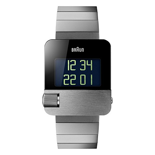 Braun Men's BN0106SLBTG Prestige Digital Digital Display Swiss Quartz Silver Watch