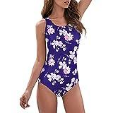 Zando Womens Bathing Suits One Piece Swimsuits Athletic Training Swimsuit Tummy Control Swimwear Swim Suits Navy Flower Print 6-8