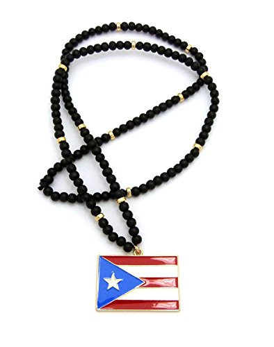 Necklace Flag Bead - Fashion 21 Iced Out Puerto Rico Flag Pendant 6mm 30