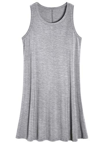Latuza Women's Sleeveless Nightgown Scoop Neck Sleep Tank Dress 2X Light Gray ()