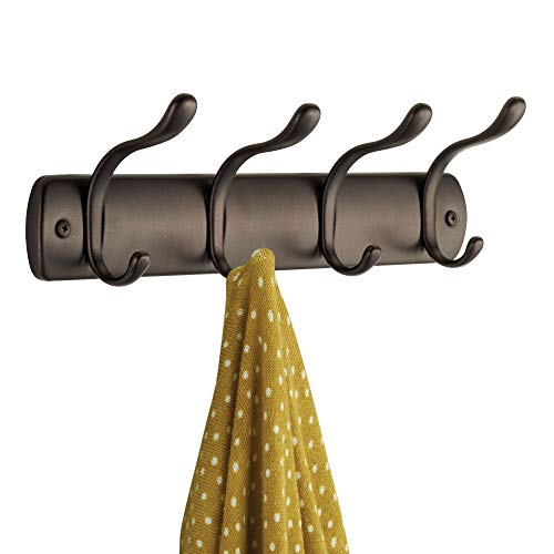 iDesign Bruschia Metal Wall Mount 4-Hook Rack for Coats, Hats, Scarves, Towels, Robes, Jackets, Purses, Leashes, 13