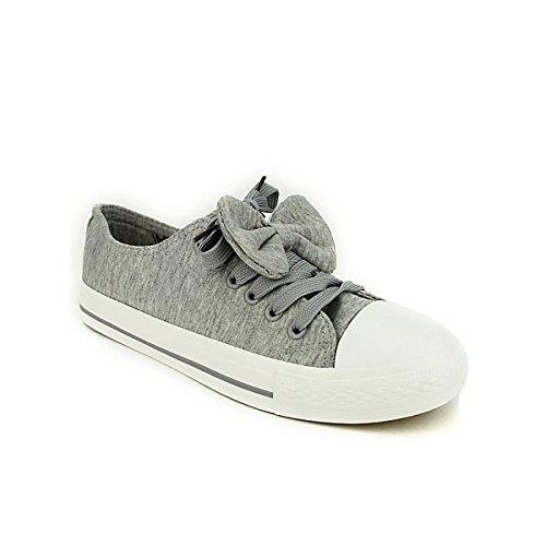 Cendriyon Baskets Grises Coton BELLOS avec Noeud Chaussures Femme Gris HryK4V6