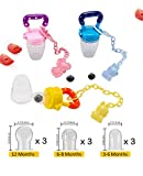 Biubee 3 Pack Silicone Fresh Food Feeder with 3 Pcs Pacifier Clips&9 Different Size Nipples(3 for S, 3 for M, 3 for L), Baby Food Feeder Set for Infant&Toddlers