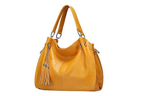 Image of Obosoyo Women's Handbag Genuine Leather Tote Shoulder Bags Soft Hot Yellow