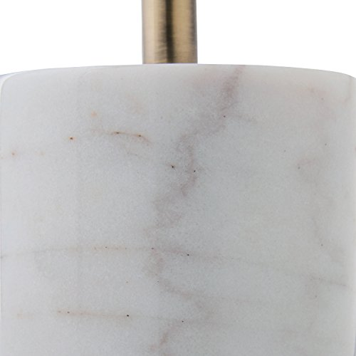 Rivet Modern Glass Globe and Marble Table Lamp with LED Bulb, 23''H, Brass, White by Rivet (Image #1)