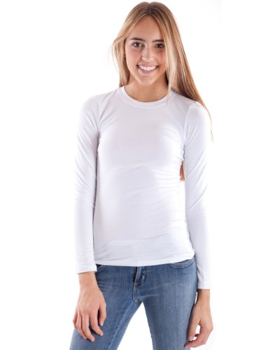 Woman White Plain Long Sleeve T-Shirt Crew Neck