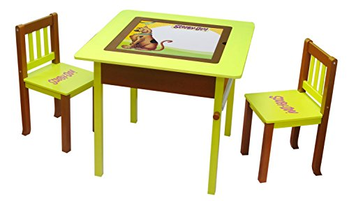 O'Kids Scooby Doo Deluxe 4-in-1 Flip Top Multi-Function Wooden Activity Table and Chair - Doo Furniture Scooby