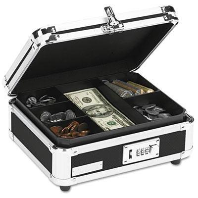 "Vaultz - Plastic & Steel Cash Box W/Tumbler Lock Black & Chrome ""Product Category: Money Handling Products/Cash & Check Boxes"""