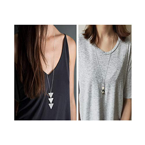 Dcfywl731 Fashion Three Triangle Arrow Long Chain Pendant Necklace for Women Metal Geometric Sweater Necklace Punk Jewelry (2pcs Silver Trigangle +Disc)