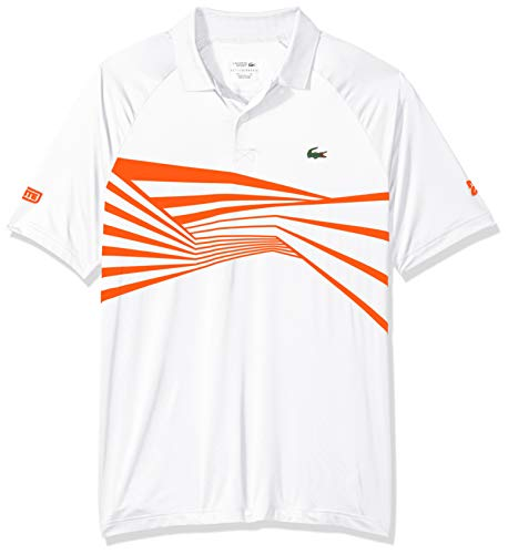 (Lacoste Men's Sport DJOVOKIC Short Sleeve Ultra Dry Graphic Polo, White/Mexico red, Large)