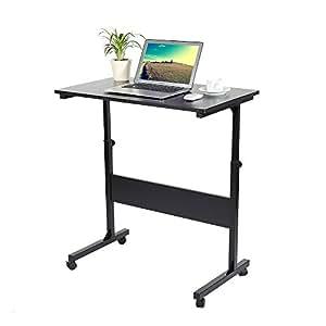 Escritorio para ordenador altura ajustable, para ordenador portátil, escritorio, estación de trabajo de ordenador, mesa de ordenador con ruedas con ...