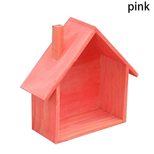 HEQEDW House Shaped Wood Organizer Box Wall Mounted Shelf Tabletop Storage Box Eco-Friendly Bag for Home Bedroom Storage Creative Red