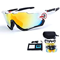 TOPTETN Polarized Sports Sunglasses UV400 Protection Cycling Glasses With 5 Interchangeable Lenses for Cycling, Baseball,Fishing, Skiing, Running
