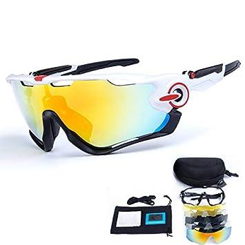 TOPTETN Gafas de sol deportivas polarizadas Protección UV400 Gafas de ciclismo con 5 lentes intercambiables para ciclismo, béisbol, pesca, esquí, ...