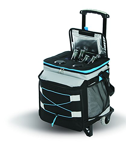 Picnic Plus Bluetooth Music Rolling Cooler by with 2 Speakers, Detachable Trolley, Rechargeable Power Pack, Holds up to 48 Cans. Folds Flat for Storage (Black/Grey)