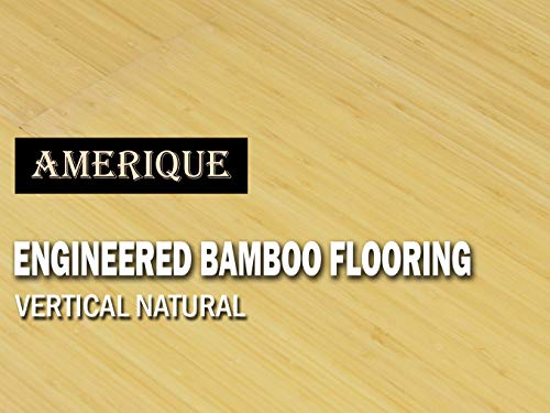 AMERIQUE Prefinished Glueless Click Engineered Bamboo Floor Vertical Natural Color, Premium Grade, 6'(L) X6-1/4