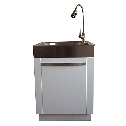 Presenza All-in-One 26 in. x 23 in. x 31 in. Stainless Steel Laundry/Utility Sink and Cabinet by Presenza