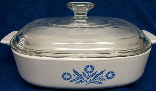 "1950s Vintage Corning Ware Cornflower Blue Casserole Skillet w/ Lid (8 x 8 x 1 3/4"") A-8-B"