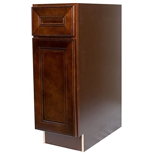 Everyday Cabinets 12 x 34.5 x 24 in. Soft Close Base Cabinet in Leo Saddle with 1 Drawer & 1 Door & 1 Shelf RTA