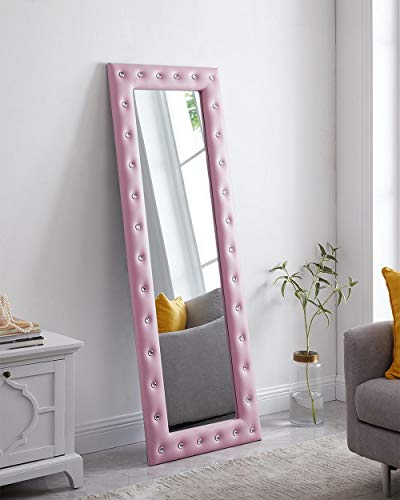 Naomi Home Crystal Tufted Mirror Pink (Floor Pink Mirror)