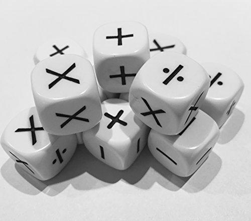 Operationen Würfel . Set von 12 Würfel, die zeigen (6) Addition, Subtraktion, und (6) Multiplikation und Division Tarquin
