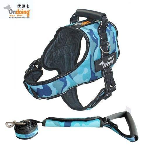 FidgetGear Dog Harness Set Pet K9 Harness+Leashes Police Tranining Safety Pull Collar bluee Set M