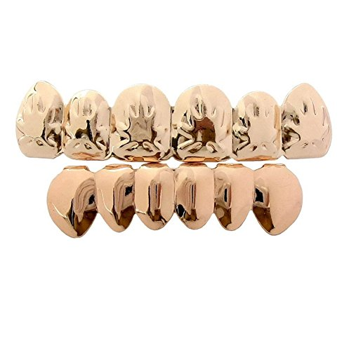 Captain Crafts Gold Plated Hip Hop Teeth Grillz Caps Top Bottom Teeth Set-Maple Leaf (Gold-mapie leaf) ()
