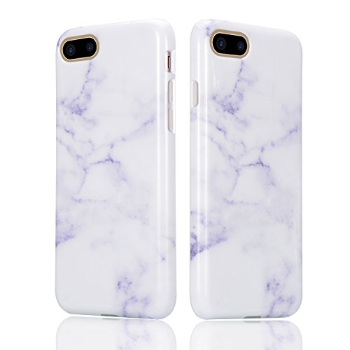 Mármol Funda para iPhone 7 Plus Sunroyal Silicona Suave TPU Parachoques Bumper Ultra Slim Carcasa Flexible [Choque Tecnología Absorción] Rasguño Resistente Ultra Delgado Ligero Caja del Teléfono para  A-04