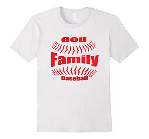 Men's God, Family and Baseball Christian Shirt 2XL White