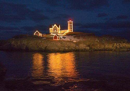Christmas at the Nubble Lighthouse, York, Maine Photograph