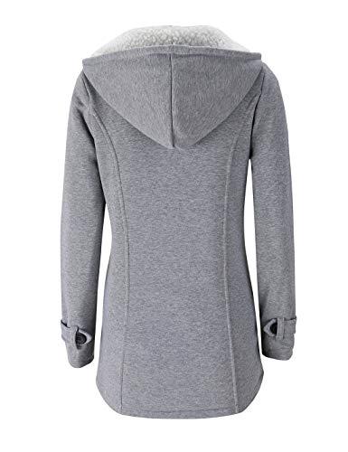 Grey2 Sherpa Chaud Survêtement Parka Manteau Naliha Corne Vestes Femmes Bouton À Capuche Polaire z7UHwq4