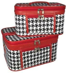 Travel Train Case - Cosmetic - Toiletry - 2 Pc. Set, Houndstooth Print With Red Trim