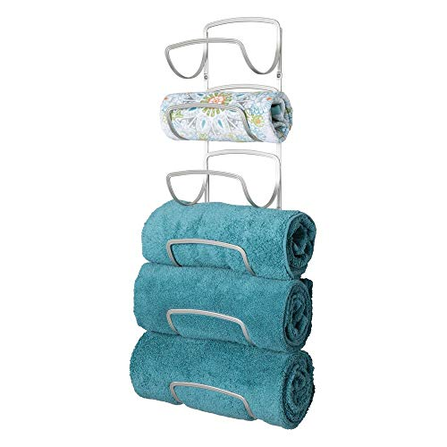 mDesign Modern Decorative Six Level Bathroom Towel Rack Holder & Organizer, Wall Mount - for Storage of Bath Towels, Washcloths, Hand Towels - - Storage Towel Rack