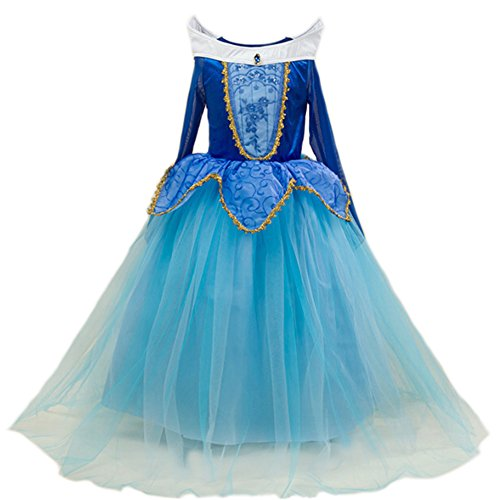 JiaDuo Girls' New Princess Beauty Costume Birthday Party Dress Up 110 Blue