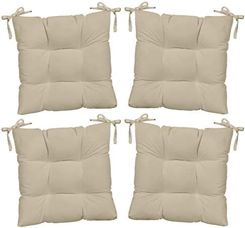 Set of 4 – Indoor Outdoor Solid Ivory Universal Tufted Seat Cushions with Ties for Dining Patio Chairs – Choose Size 21 x 20