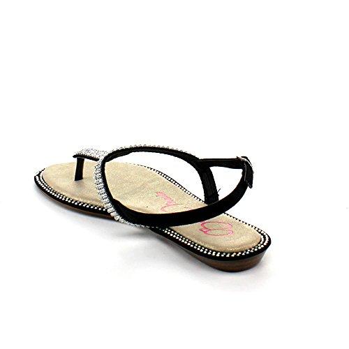 Bellamarie Rena-2 Kvinner Slingback T-rem Gladiator Rhinestone Tanga Flat Sandal, Farger: Sort, Størrelse: 6