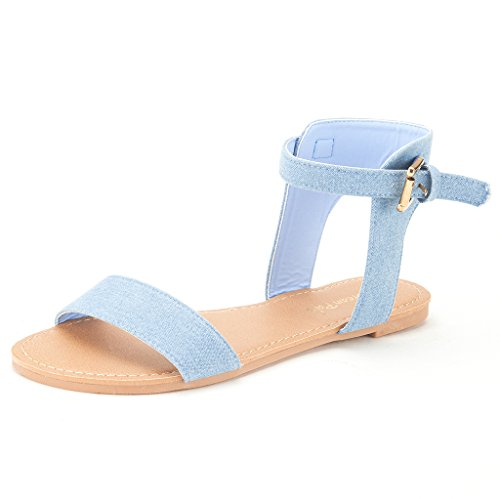 Hoboo Strap Alexa Cute Ankle One DREAM Open Summer Band Flat PAIRS Toes blue Women's Sandals Flexible Denim New qznwE1f