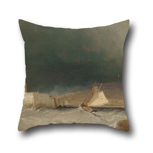 Oil Painting George Chambers - Port On A Stormy Day Pillow Shams 18 X 18 Inches / 45 By 45 Cm Gift Or Decor For Bench,kids Boys,festival,monther,couch,bedding - Double ()