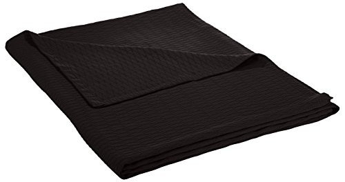- Superior 100% Cotton Thermal Blanket, Soft and Breathable Cotton for All Seasons, Bed Blanket and Oversized Throw Blanket with Luxurious Diamond Weave - King Size, Black