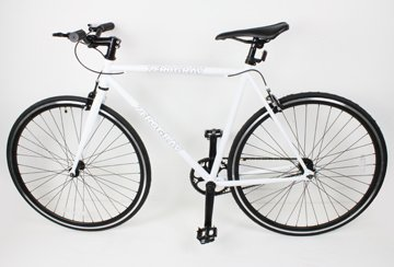 New 54cm White Fixed Gear Bike Single Speed Riser Bar Fixie Road