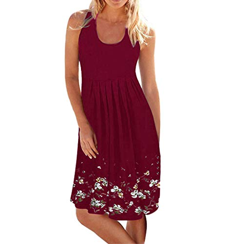 Women Casual Pleated Losse Summer Solid Sleeveless Scoop Neck T-Shirt Midi Tank Dress Sundress (L, Wine-2)