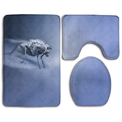 Laki-co Mosquito Insect Tower Toilet Cover Set Bath Mat Bathroom Carpet Rug Washable Non-Slip Mats 3 Piece