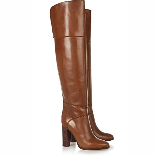 Otoño Para Punta Chunky Rodilla Estrecha Invierno Real yc Brown Botas Forro Altas L Casual De Mujer Cuero Talón Zapatos Aq06a7awB