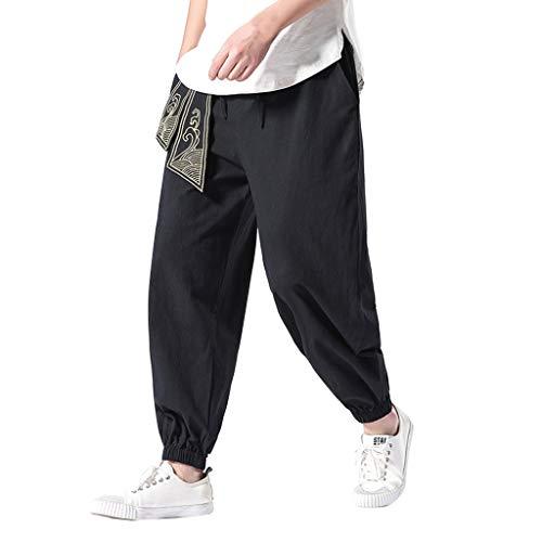 ANJUNIE Men's Super Soft Modal Spandex Harem Yoga Pilates Pants Harren's Baggy Wide-Legged Comfortable Trousers(1-Black,M)
