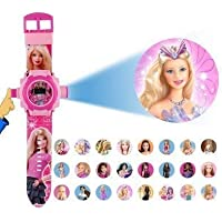 Gaanu Barbie 24 Different Images Projector Light Watch for Kids (Pink)